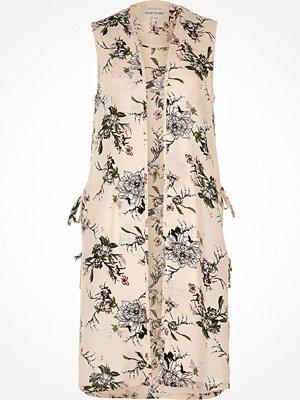 River Island River Island Womens Cream floral print sleeveless duster jacket