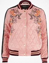 River Island Pink floral embroidered quilted bomber jacket