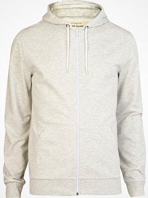 River Island Cream marl zip front hoodie