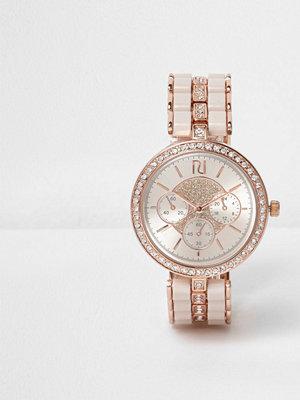 Klockor - River Island Rose Gold tone diamante watch