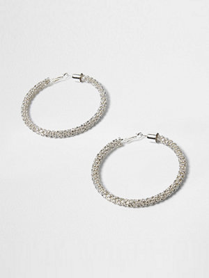 River Island örhängen Silver tone diamante rope hoop earrings