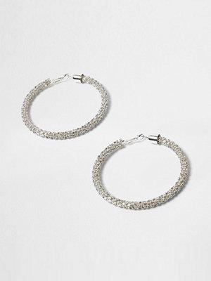 River Island örhängen Silver tone diamante rope hoop earrings