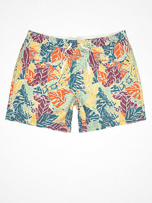 Badkläder - River Island Orange palm tree print swim shorts