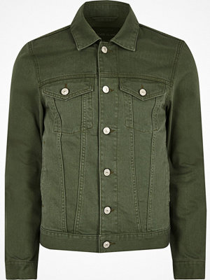 River Island Big and Tall dark Green denim jacket