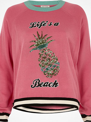 River Island Pink knit pineapple sequin jumper
