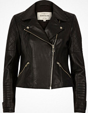 River Island Black leather quilted biker jacket