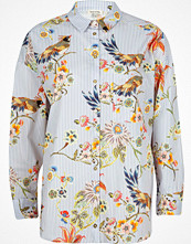 River Island Blue stripe and bird print shirt