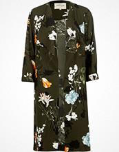River Island Khaki green floral print duster coat