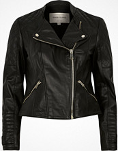 River Island Black leather quilted collarless biker jacket