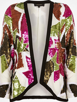River Island White sequin embellished trophy jacket