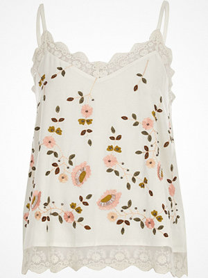 River Island Cream floral embroidered cami top