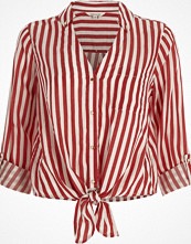 River Island Red stripe tie front shirt