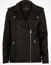 River Island Black faux leather longline biker jacket