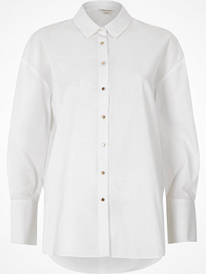 River Island White tie sleeve oversized shirt