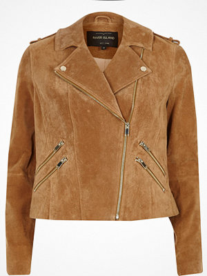 River Island Tan suede biker jacket