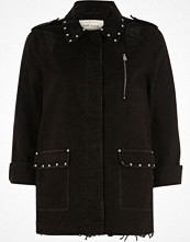 River Island Black distressed studded army jacket
