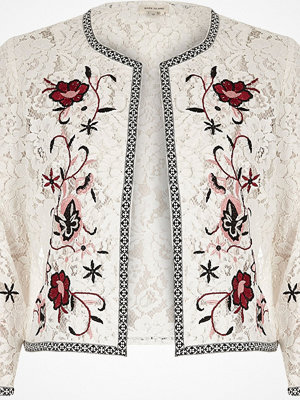 River Island White floral embroidered lace bolero jacket