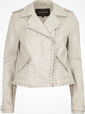 River Island Cream faux leather studded biker jacket