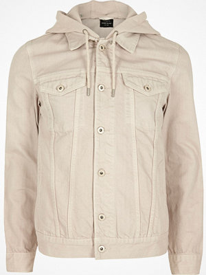 Jackor - River Island Stone jersey hooded denim jacket