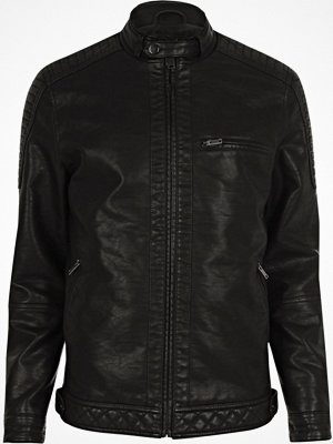 River Island Big and Tall faux leather racer neck jacket