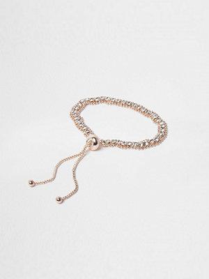 River Island armband Rose Gold tone diamante lariat bracelet