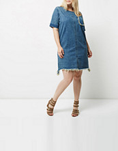 River Island Plus blue wash frayed denim T-shirt dress