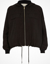 River Island Black hooded drawstring hem jacket