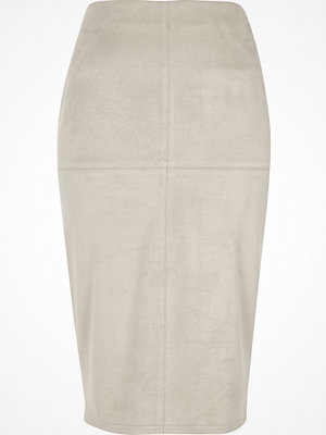 River Island Light Grey faux suede pencil skirt