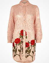 Skjortor - River Island Pink lace floral embroidered shirt