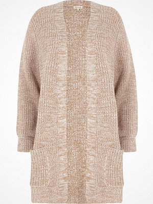 Cardigans - River Island Petite beige ribbed knit cardigan