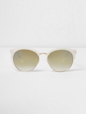 River Island White half frame green sunglasses