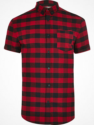Skjortor - River Island Red check short sleeve muscle fit shirt