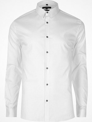 River Island White poplin long sleeve muscle fit shirt