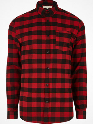 Skjortor - River Island Red buffalo check muscle fit shirt