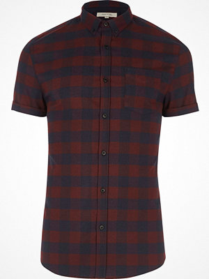 Skjortor - River Island Purple check short sleeve muscle fit shirt