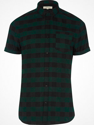 Skjortor - River Island Green check short sleeve muscle fit shirt