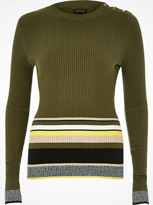 River Island Khaki stripe button jumper