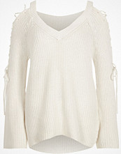 River Island White ribbed knit tie sleeve V neck jumper