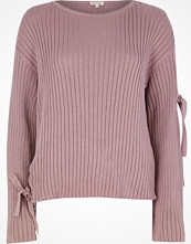 Tröjor - River Island Purple ribbed knit eyelet tie sleeve jumper