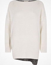 Tröjor - River Island Cream eyelet detail colour block jumper
