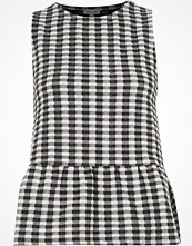 River Island White gingham print frill short sleeve top