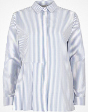 Skjortor - River Island Blue stripe print pleated shirt