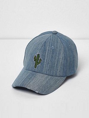 Mössor - River Island River Island Mens Blue wash denim cactus print cap
