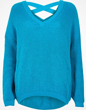 Tröjor - River Island Blue knit cross strap jumper