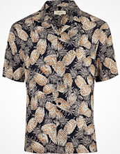 Skjortor - River Island Navy pineapple print short sleeve shirt