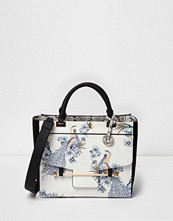 River Island White peacock front pocket tote bag