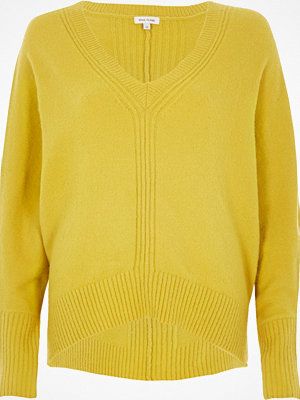 Tröjor - River Island Lime ribbed panel batwing jumper