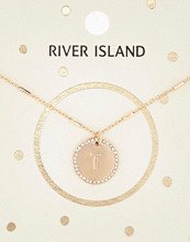 River Island Gold tone T initial necklace