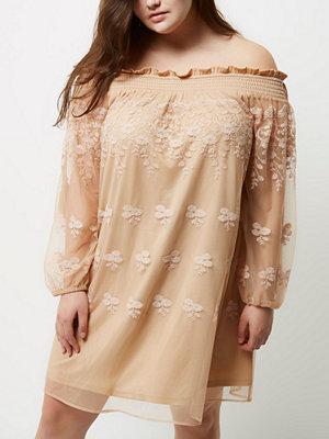 River Island Plus light pink lace shirred bardot dress