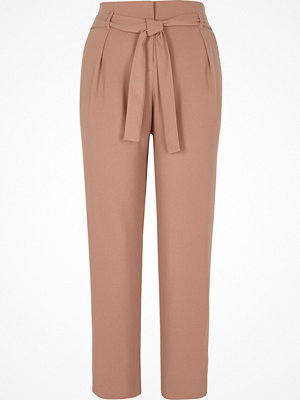 River Island Cream tie waist tapered trousers
